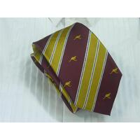 Tie - maroon and gold with gold kangaroo
